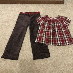 Janie and Jack 5T red silk and brown velvet outfit